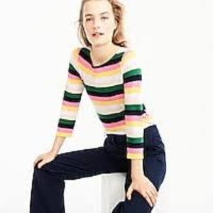 J Crew Cotton Fun Stripe Long Sleeve Tee Shirt